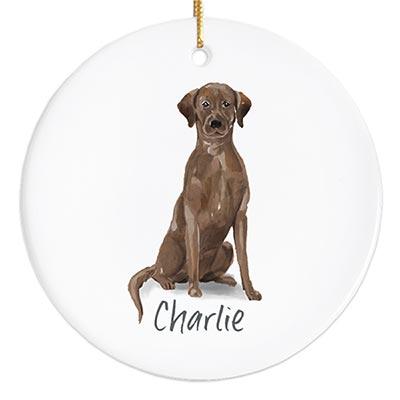 Labrador Personalized Ornament - Chocolate