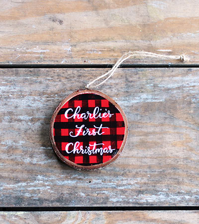 Baby's First Christmas Buffalo Check Ornament (Personalized)