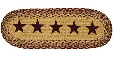 Burgundy and Tan Jute Table Runner with Stars - 24 inch