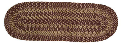 Burgundy and Tan Jute Table Runner - 36 inch