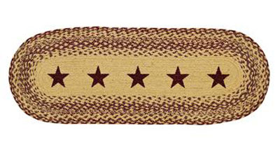 Burgundy and Tan Jute Table Runner with Stars - 36 inch