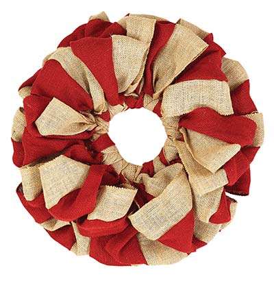 Red and Natural Burlap Wreath (15 inch)