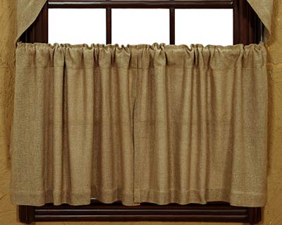 Deluxe Burlap Cafe Curtains - 24 inch Tiers