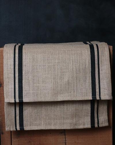 Burlap Black Stripe Placemats (Set of 6)