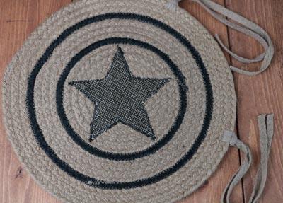 Burlap Star Braided Chair Pad