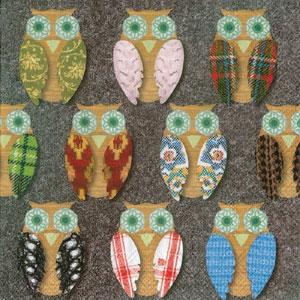 Owls on Felt Paper Cocktail Napkins