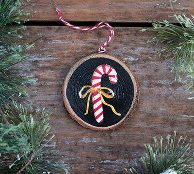 Candy Cane With Ribbon Hand Painted Wood Slice Ornament By
