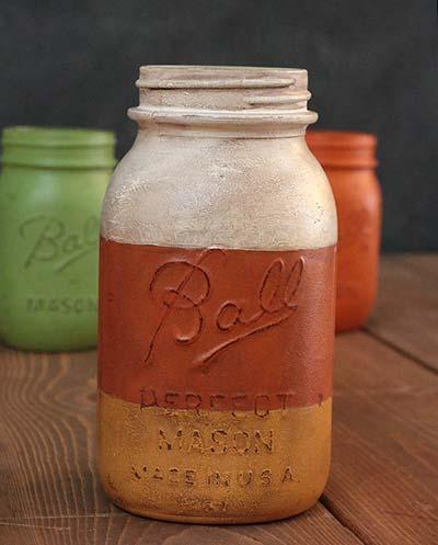 Hand-Painted Mason Jar (Quart) - Candy Corn