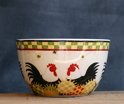 Hen Couple Ceramic Bowl