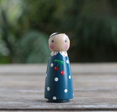 Navy Blue & Cherry Peg Doll Girl