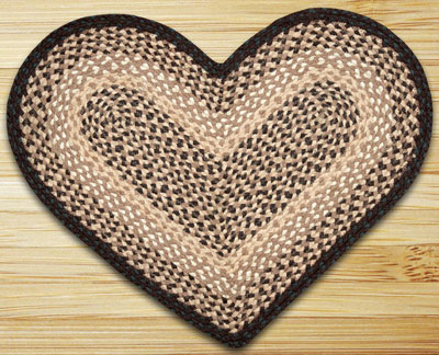 Chocolate & Natural HEART Jute Rug
