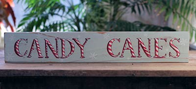 Candy Canes with Snowflakes Sign