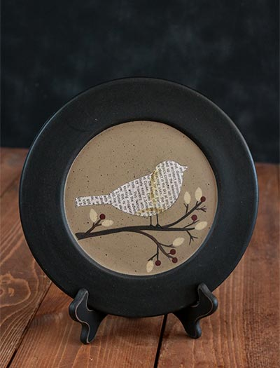 Perched Bird & Berry Plate - Songbird