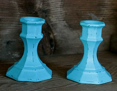 Robin's Egg Blue Distressed Painted Glass Candlesticks (Set of 2)