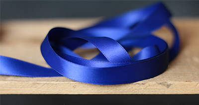 Royal Blue Double Faced Poly Satin Ribbon, 1/2 inch
