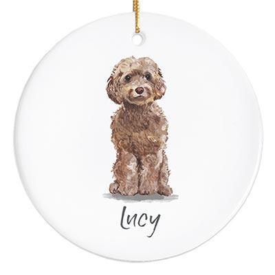 Cockapoo Personalized Ornament - Brown