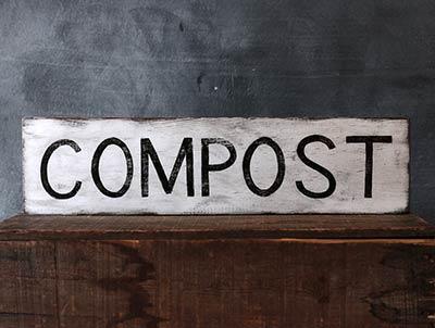 Compost Rustic Wood Sign