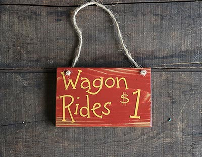 Wagon Rides Wooden Sign