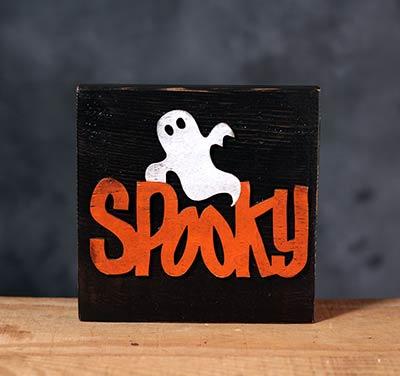 Spooky Halloween Wood Sign - Black