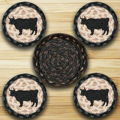 Cow Silhouette Braided Coaster Set