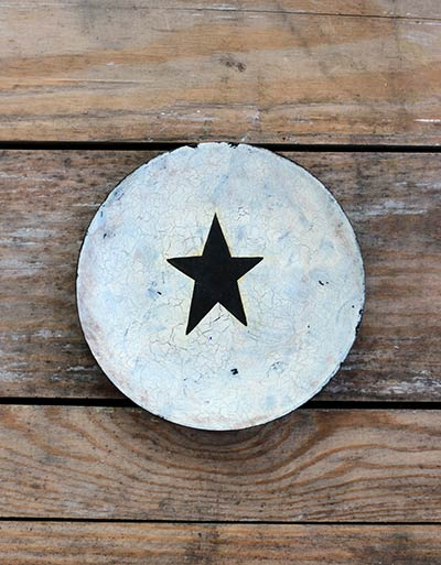 Star Crackled Decorative Wooden Plate (Color choices available)
