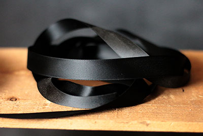 Jet Black Double Faced Poly Satin Ribbon, 3/4 inch