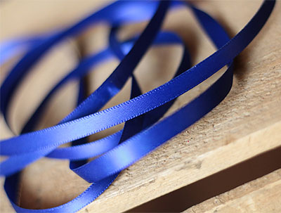 Royal Blue Double Faced Poly Satin Ribbon, 1/4 inch