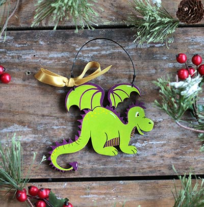 Friendly Dragon Personalized Ornament - Green