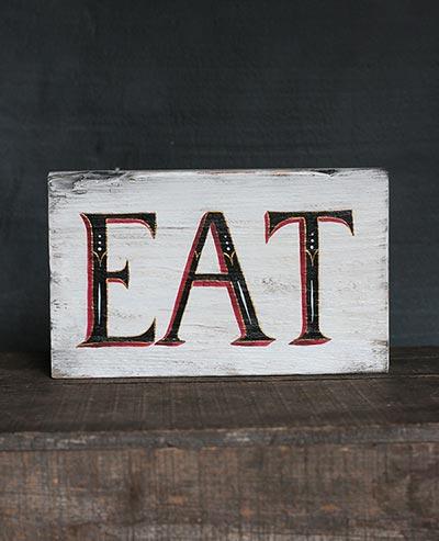 Vintage Eat Hand Lettered Wood Sign