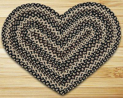 Ebony, Ivory, & Chocolate HEART Jute Rug
