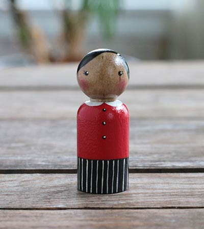 Red and Black Peg Doll Lady (or Ornament)
