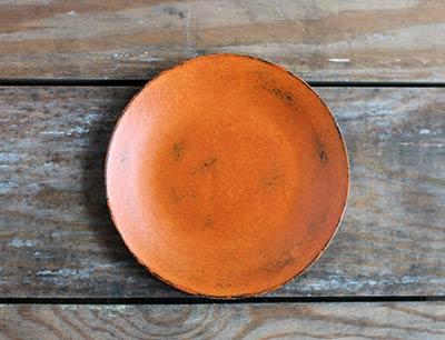 Distressed 6 inch Candle Plate - Pumpkin Orange