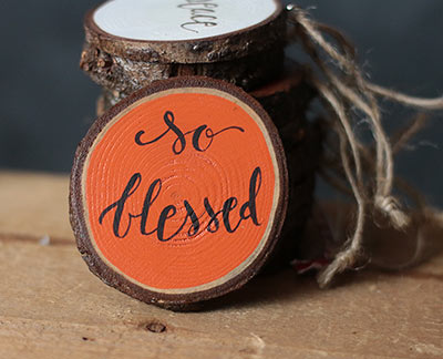 So Blessed Wood Slice Ornament - Harvest Orange (Personalized)