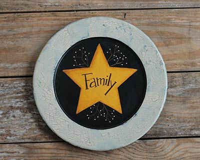 Family Primitive Plate with Star and White Berries