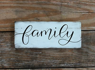Family Distressed Sign (White)