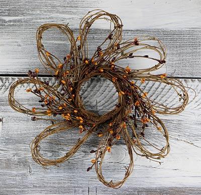 Burgundy & Gold Flower Pip Berry Wreath - 12 inch
