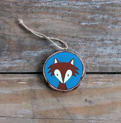 Fox Wood Slice Ornament (Personalized)