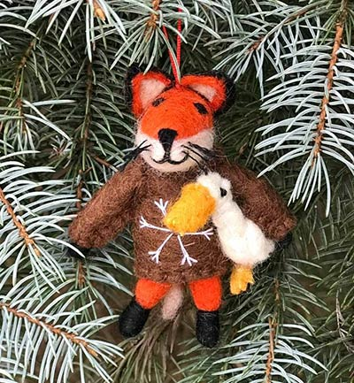 Fox in Brown Sweater Wool Ornament