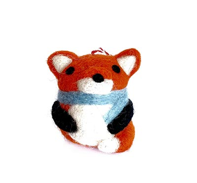 Fox Tufted Wool Ornament