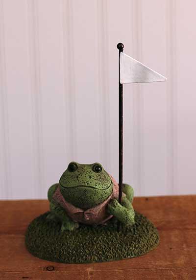 Golfing Frog Figurine