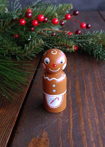 Gingerbread Girl Peg Doll