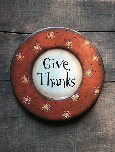 Give Thanks Plate with Flowers