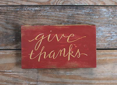 Give Thanks Wooden Sign (Burnt Red)