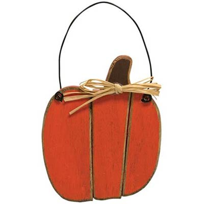 Pumpkin Slat Wood Ornament - Orange