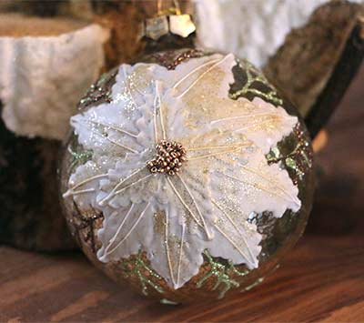 Champagne Antiqued Glass Ornament - Ball