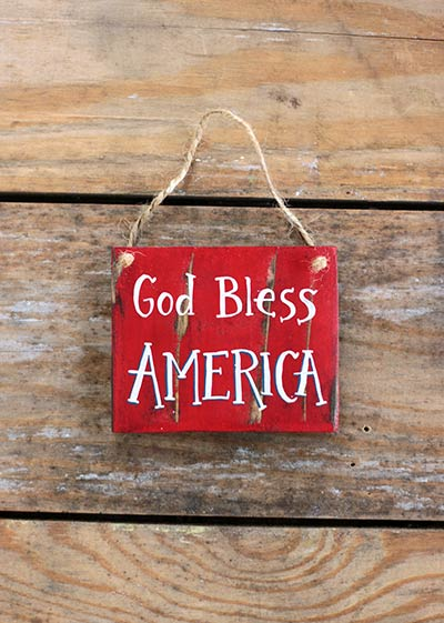 God Bless America Sign Ornament
