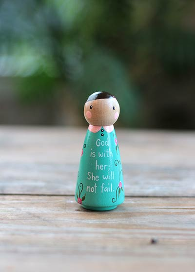 She Will Not Fail Scripture Doll - Teal (or Ornament)