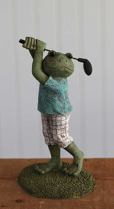 Golfing Frog Figurine Outdoor Decor