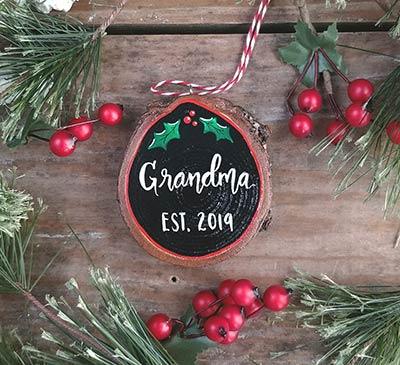 Grandma Est Wood Slice Ornament (Personalized)