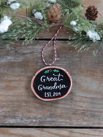 Great Grandma Est Wood Slice Ornament (Personalized)